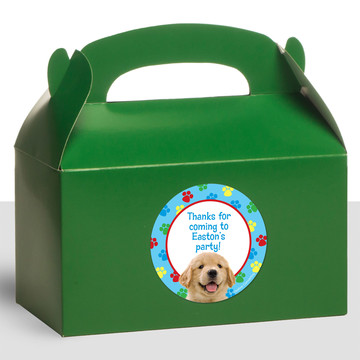 Dog Party Personalized Treat Favor Boxes (12 Count)