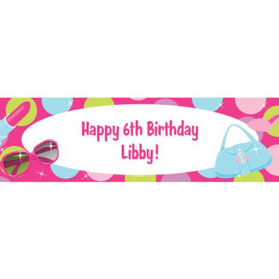 View larger image of Doll Party Personalized Banner (each)