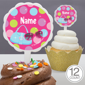 Doll Party Personalized Cupcake Picks (12 Count)
