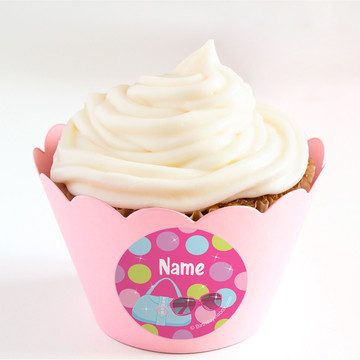 Doll Party Personalized Cupcake Wrappers (Set of 24)