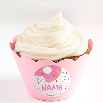 Donut Personalized Cupcake Wrappers (Set of 24)