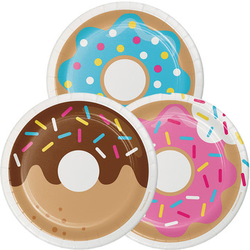 "Donut Time 7"" Cake Plates (8 Count)"