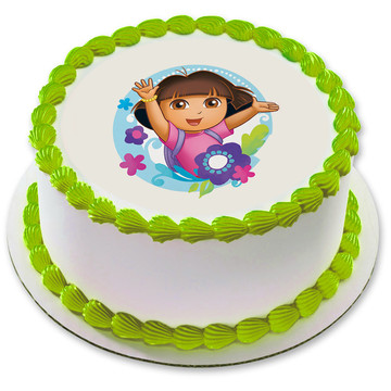 "Dora the Explorer 7.5"" Round Edible Cake Topper (Each)"