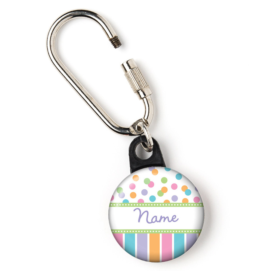 """View larger image of Dots and Stripes Baby Shower Personalized 1"""" Carabiner (Each)"""