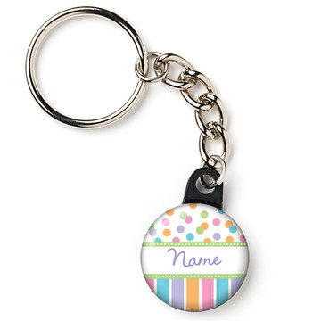 """Dots and Stripes Baby Shower Personalized 1"""" Mini Key Chain (Each)"""