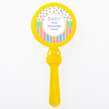 Dots and Stripes Baby Shower Personalized Clappers (Set of 12)
