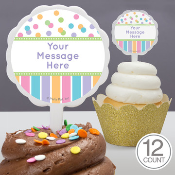 Dots and Stripes Baby Shower Personalized Cupcake Picks (12 Count)