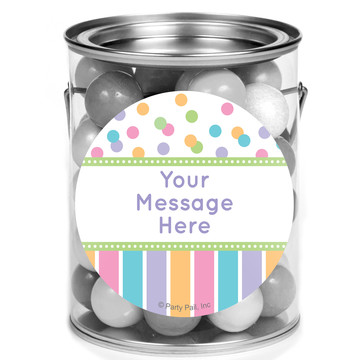 Dots and Stripes Baby Shower Personalized Mini Paint Cans (12 Count)