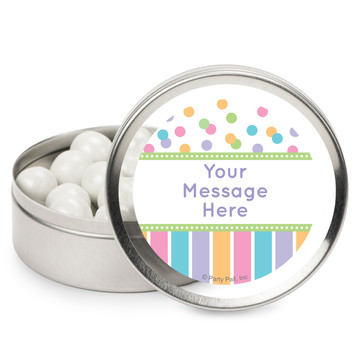 Dots and Stripes Baby Shower Personalized Mint Tins (12 Pack)