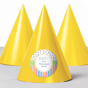 Dots and Stripes Baby Shower Personalized Party Hats (8 Count)