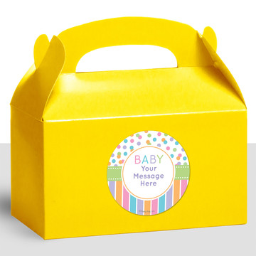 Dots and Stripes Baby Shower Personalized Treat Favor Boxes (12 Count)