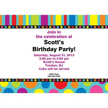 Dots and Stripes Invitation (Each)
