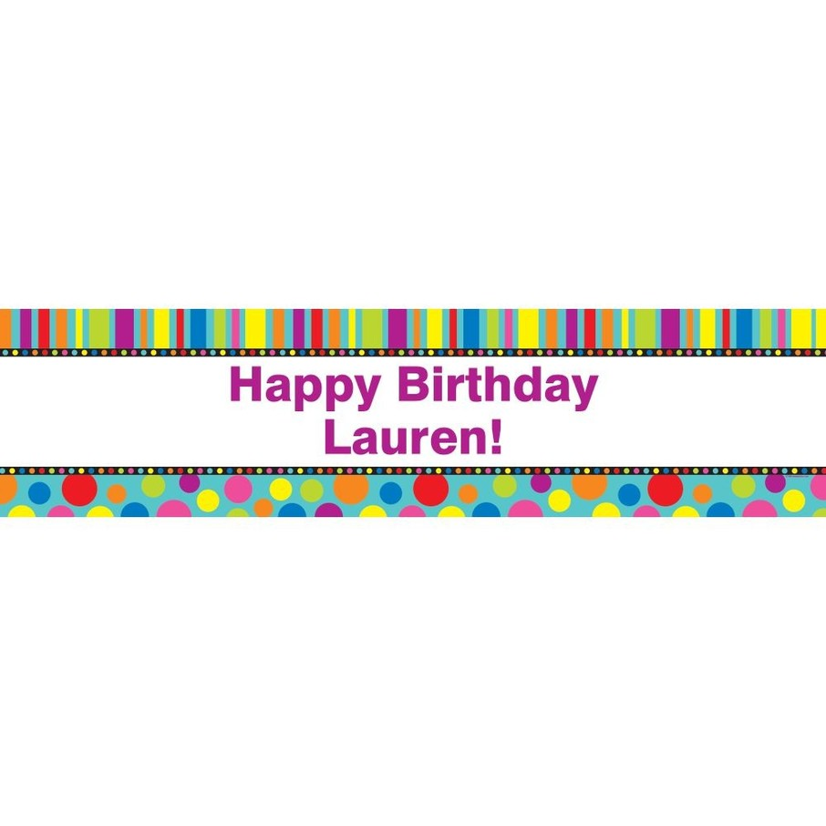 View larger image of Dots and Stripes Personalized Banner (Each)