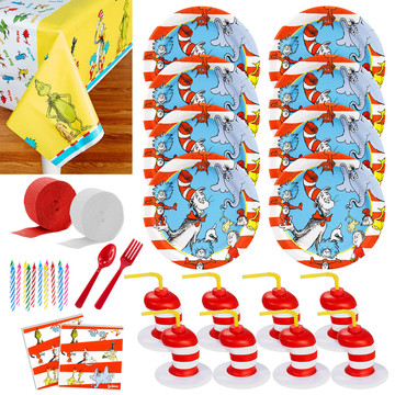 Dr. Seuss Deluxe Tableware Kit With Molded Favor Cups (Serves 8)