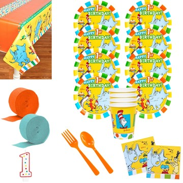 Dr. Seuss Favorites 1st Birthday Deluxe Tableware Kit (Serves 8)