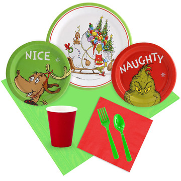 Dr. Seuss Grinch Christmas Tableware Kit (Serves 8)