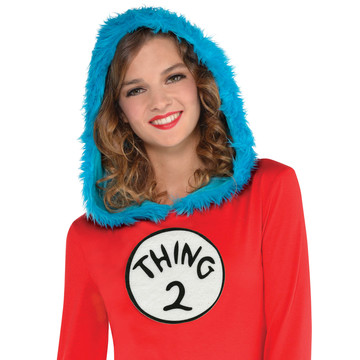 Dr. Seuss Womens Thing 1 & 2 Hooded Long Sleeve Dress