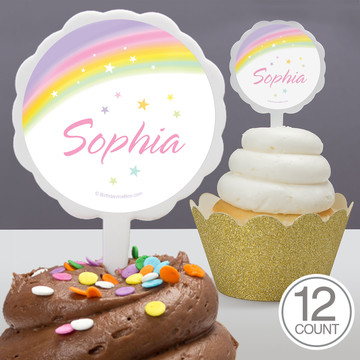Dreamy Unicorn Personalized Cupcake Picks (12 Count)