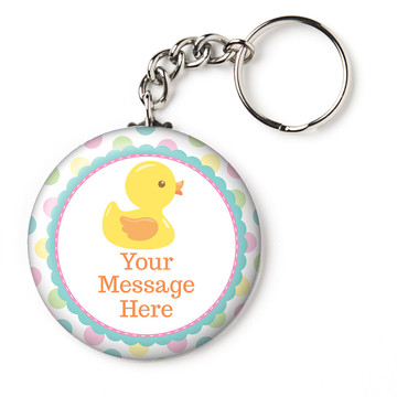 "Duckie Dots Personalized 2.25"" Key Chain (Each)"