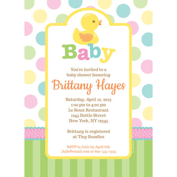 Duckie Dots Personalized Invitation (Each)