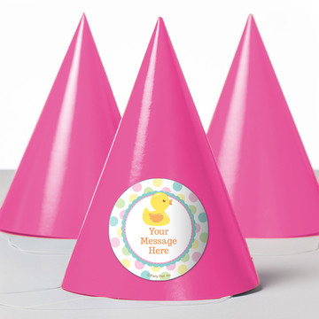 Duckie Dots Personalized Party Hats (8 Count)