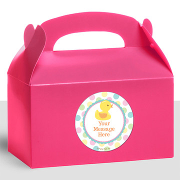 Duckie Dots Personalized Treat Favor Boxes (12 Count)