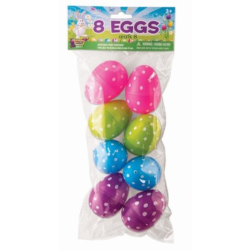 Easter Dot Print Plastic Eggs (8)