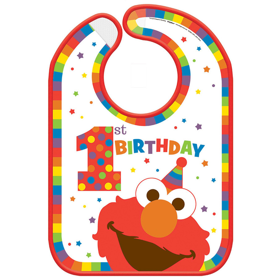 View larger image of Elmo Turns One Vinyl Baby Bib
