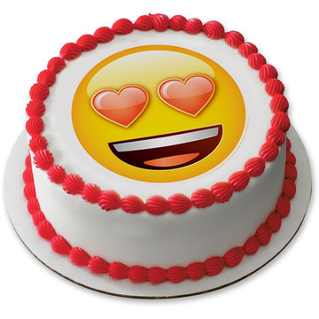 "Emoji Heart Eyes 7.5"" Round Edible Cake Topper (Each)"