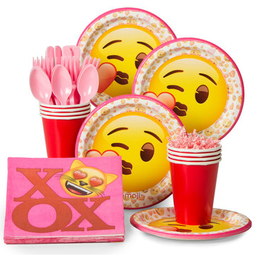 Emoji Pink Standard Tableware Kit (Serves 8)