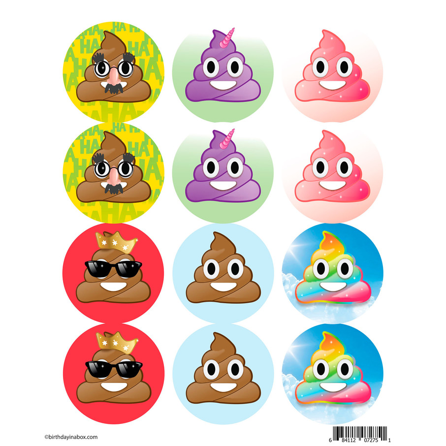 View larger image of Emoji Poop Assortment Stickers (Sheet of 12)