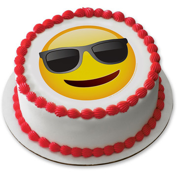 "Emoji Sunglasses 7.5"" Round Edible Cake Topper (Each)"