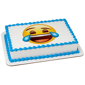 Emoji Tears of Joy Quarter Sheet Edible Cake Topper (Each)