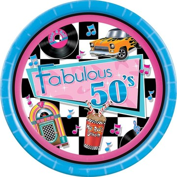 "Fabulous 50's Luncheon 9"" Plates (8 Pack)"