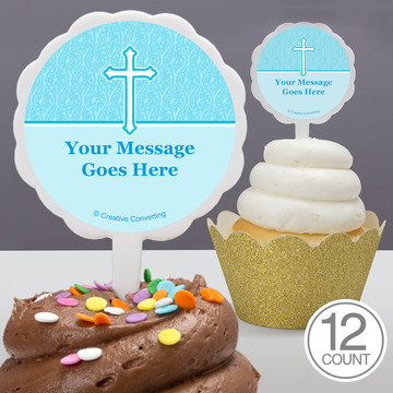 Faith Blue Personalized Cupcake Picks (12 Count)