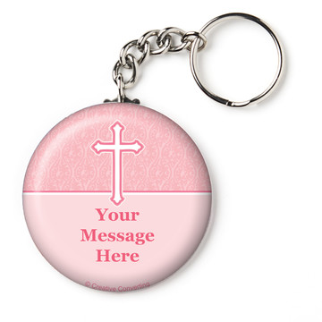 "Faith Pink Personalized 2.25"" Key Chain (Each)"