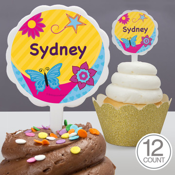 Fancy Party Personalized Cupcake Picks (12 Count)