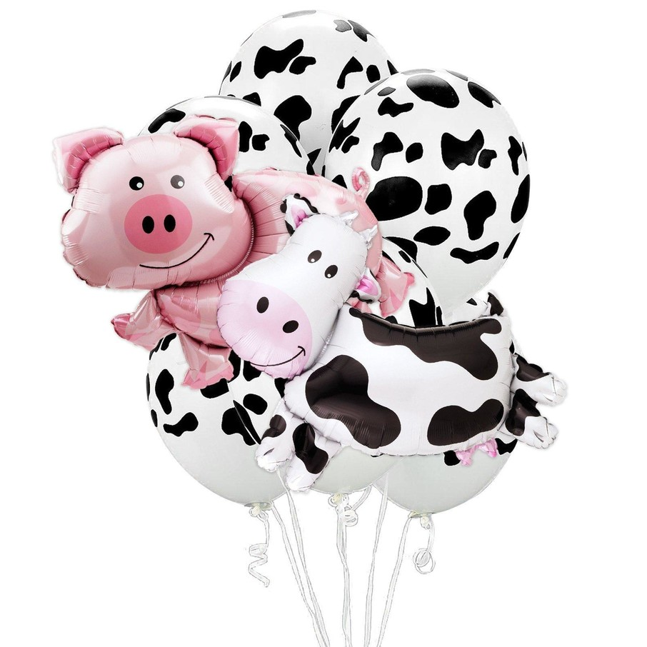 View larger image of Farm Animal Pig Cow Jumbo Balloon Bouquet