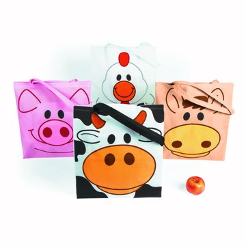 Farm Animal Tote Bags (12 Count)
