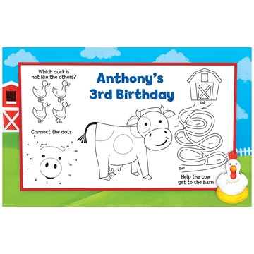 Farm Animals Personalized Activity Mats (8 pack)