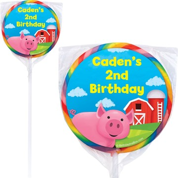 Farm Animals Personalized Lollipops(pack of 12)