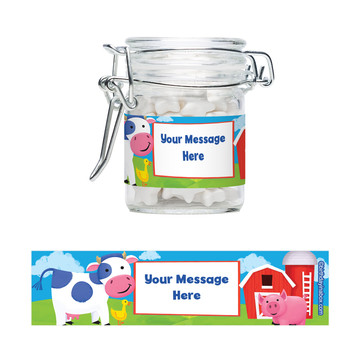 Farm Animals Personalized Swing Top Apothecary Jars (12 ct)
