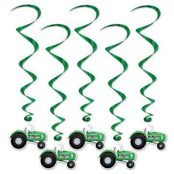 Farm Tractor Hanging Whirl Decorations (5 Pack)