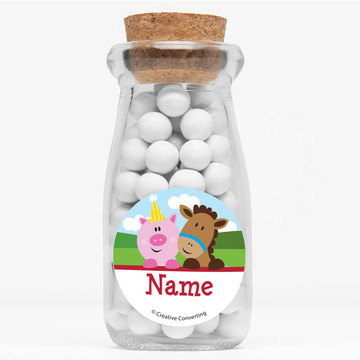 "Farmhouse Fun Personalized 4"" Glass Milk Jars (Set of 12)"