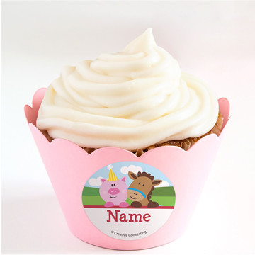 Farmhouse Fun Personalized Cupcake Wrappers (Set of 24)