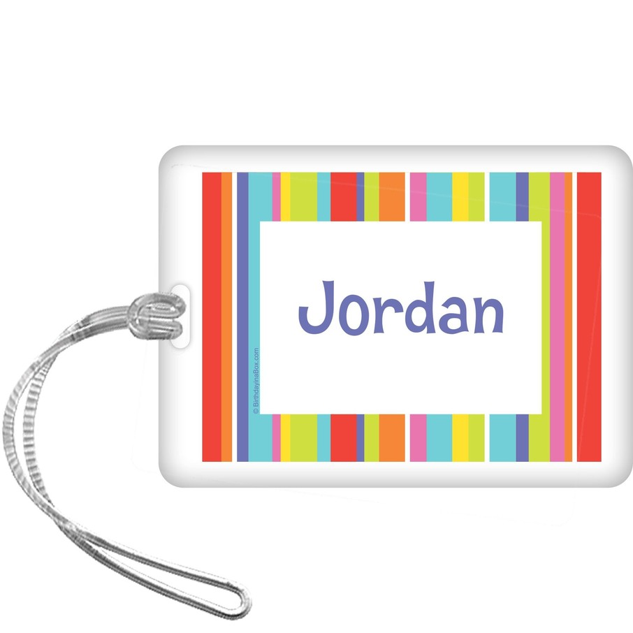 View larger image of Festive Stripes Personalized Bag Tag (each)