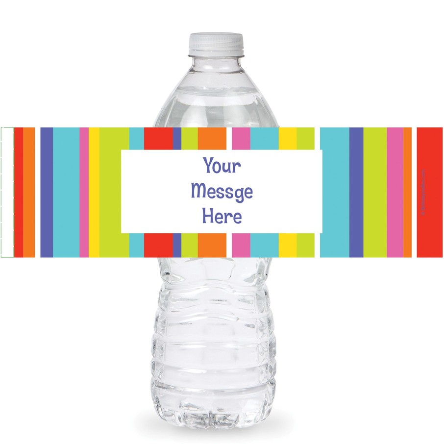 View larger image of Festive Stripes Personalized Bottle Labels (Sheet of 4)