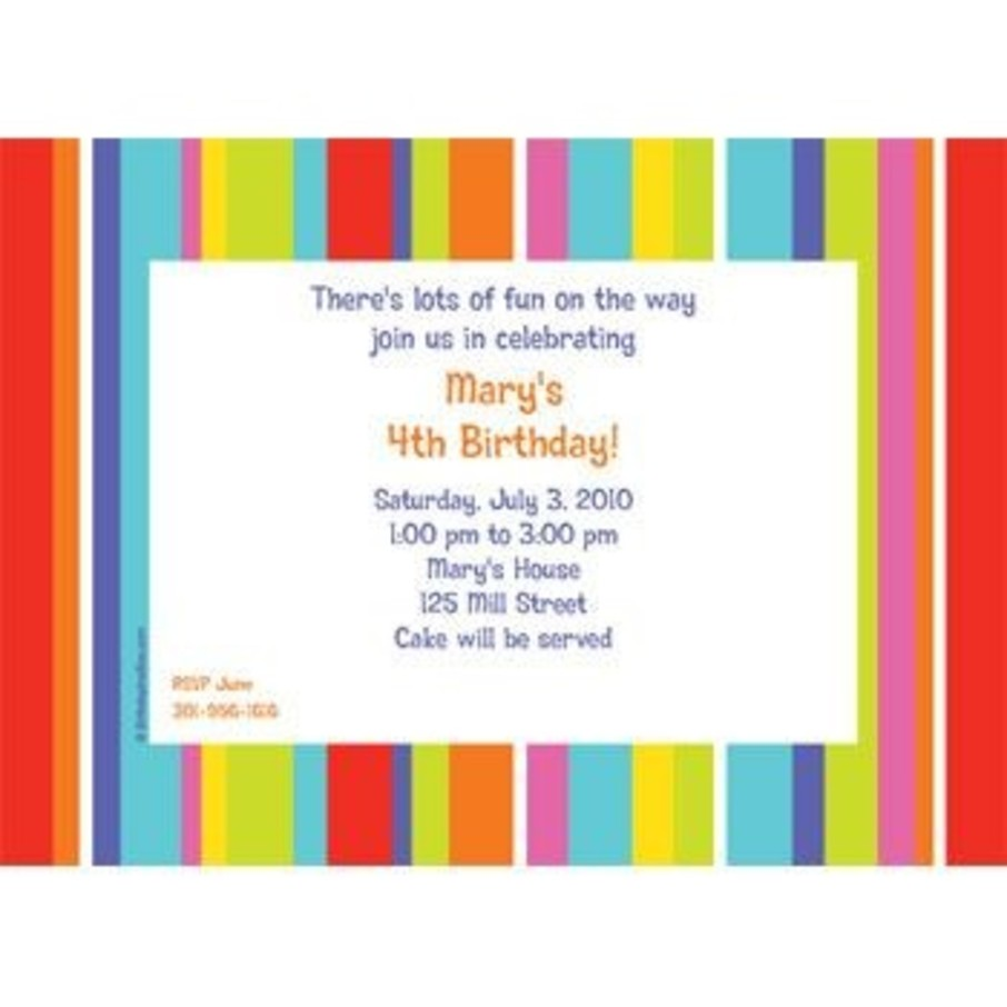 View larger image of Festive Stripes Personalized Invitation (each)