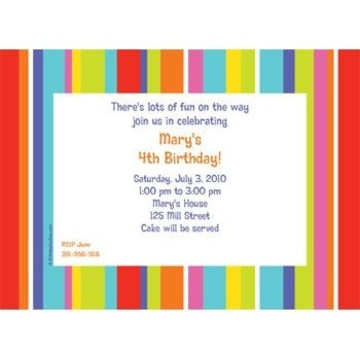 Festive Stripes Personalized Invitation (each)