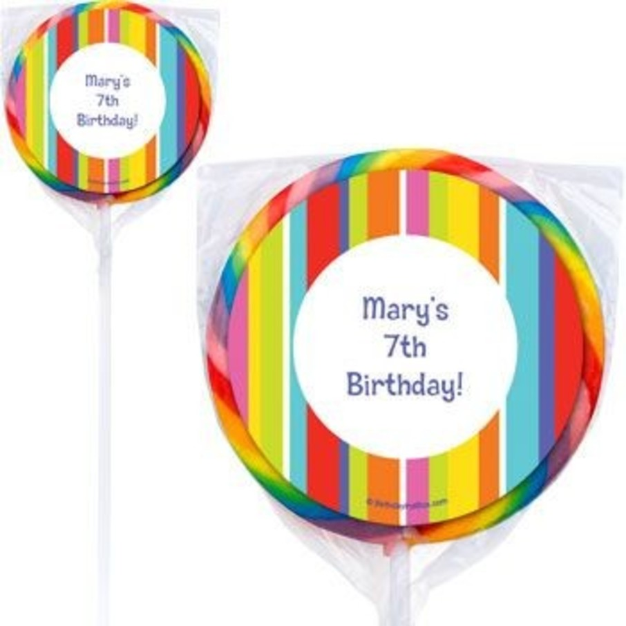View larger image of Festive Stripes Personalized Lollipops (pack of 12)